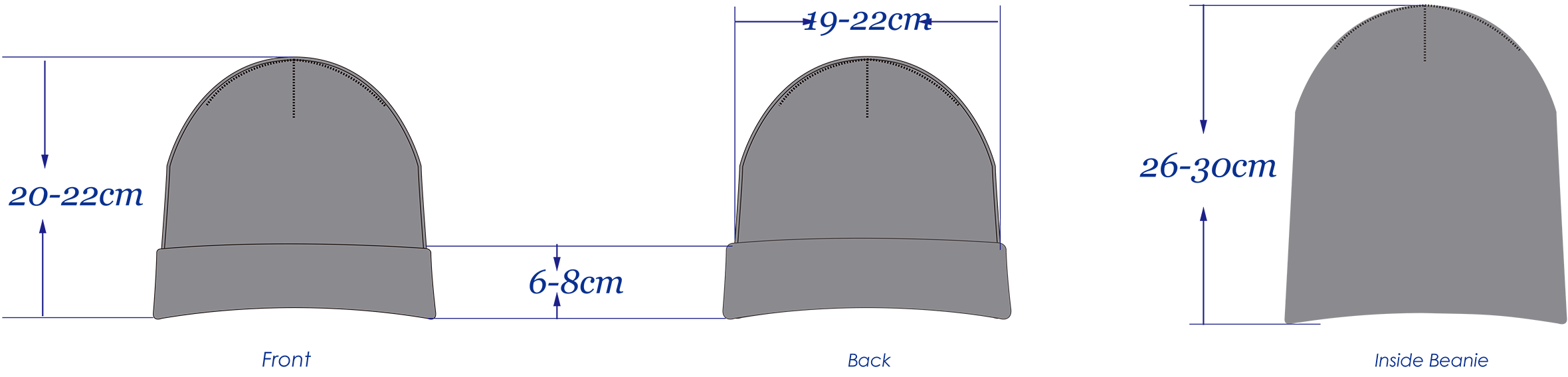 big ribbed cuff beanies sizing chart
