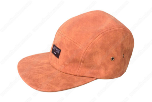 Genuine leather 5 panel caps with front woven label