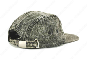 Adjustable Custom Leather Patch Denim 5 Panel Camp Caps