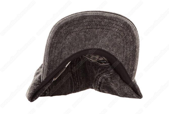 Adjustable Custom Leather Patch Denim 5 Panel Camp Caps
