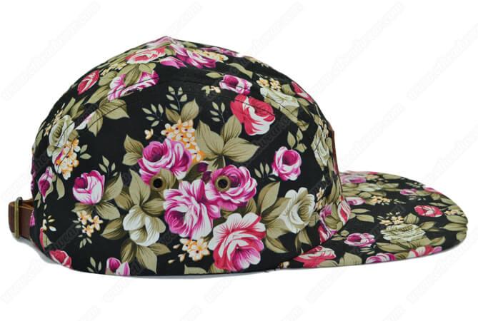 Floral print 5 panel hat
