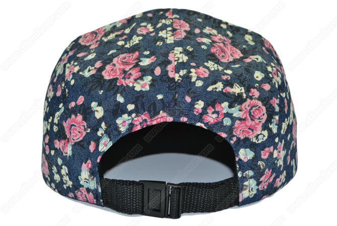 denim flowers print 5 panel hat