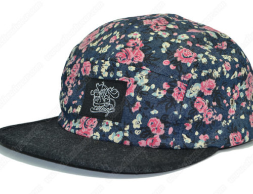 Flowers print denim 5 panel hat