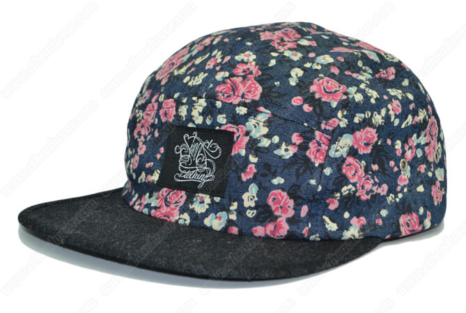 flowers print denim 5 panel hat