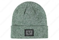 green heather knit beanies embroidered