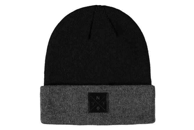 embossed leather label beanie hats for men